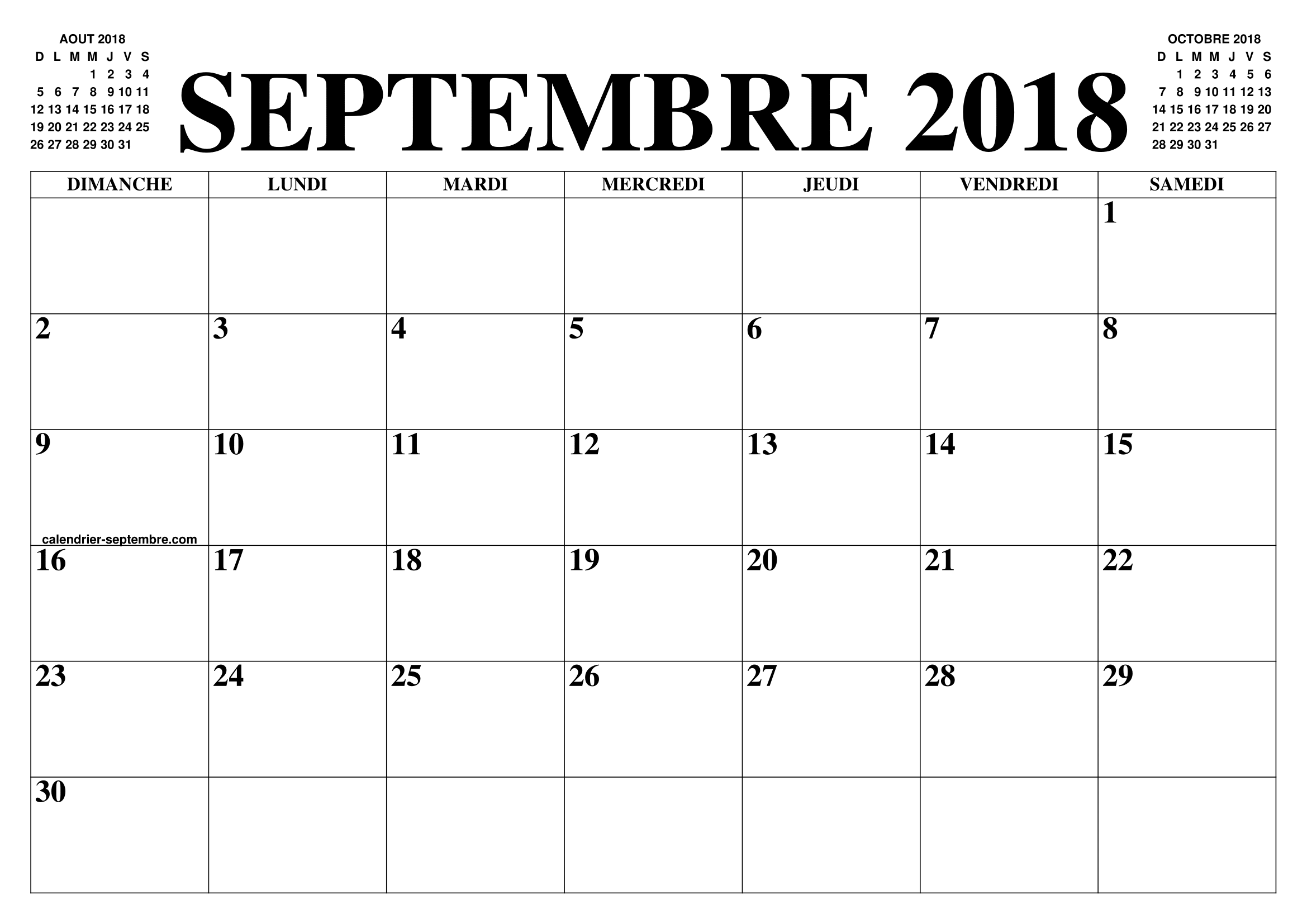 calendrier septembre 2018 2019 le calendrier du mois de septembre 2018 2019 gratuit a. Black Bedroom Furniture Sets. Home Design Ideas