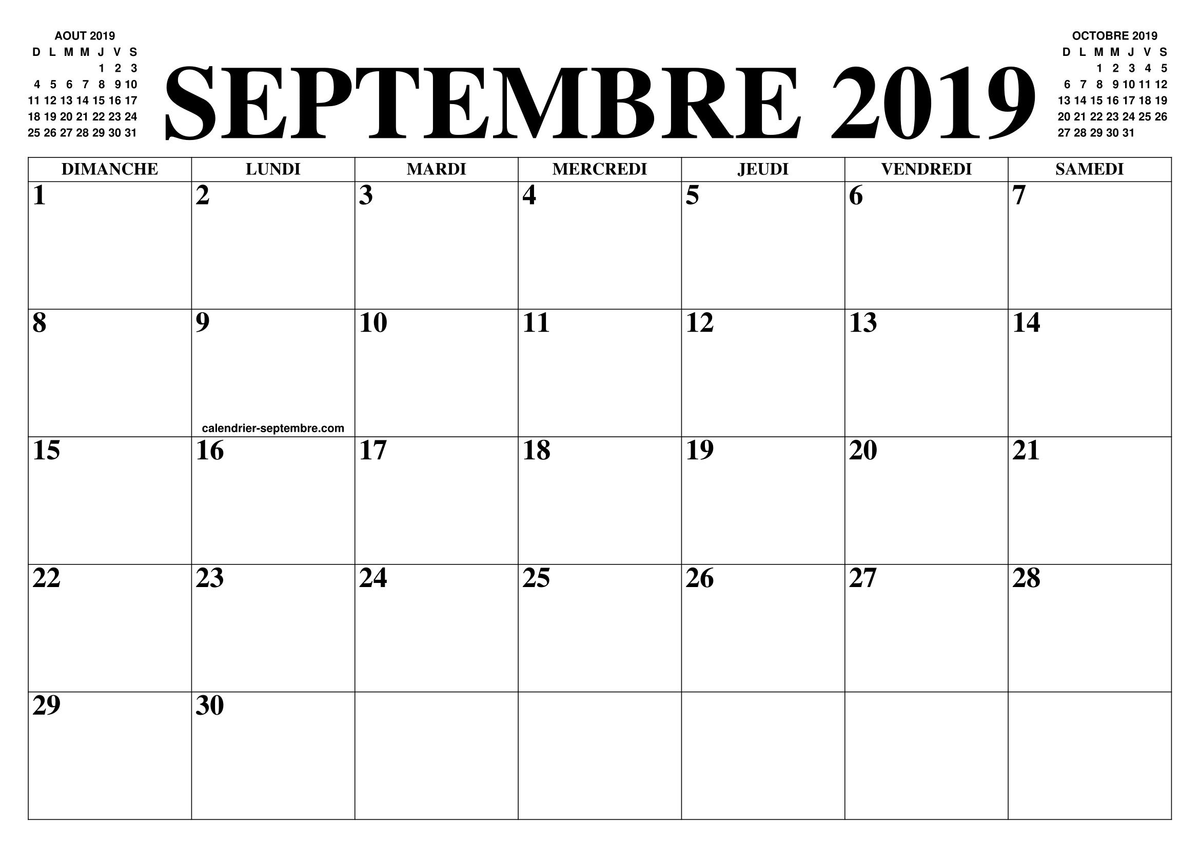 Calendrier Mois De Septembre.Calendrier Septembre 2019 2020 Le Calendrier Du Mois De