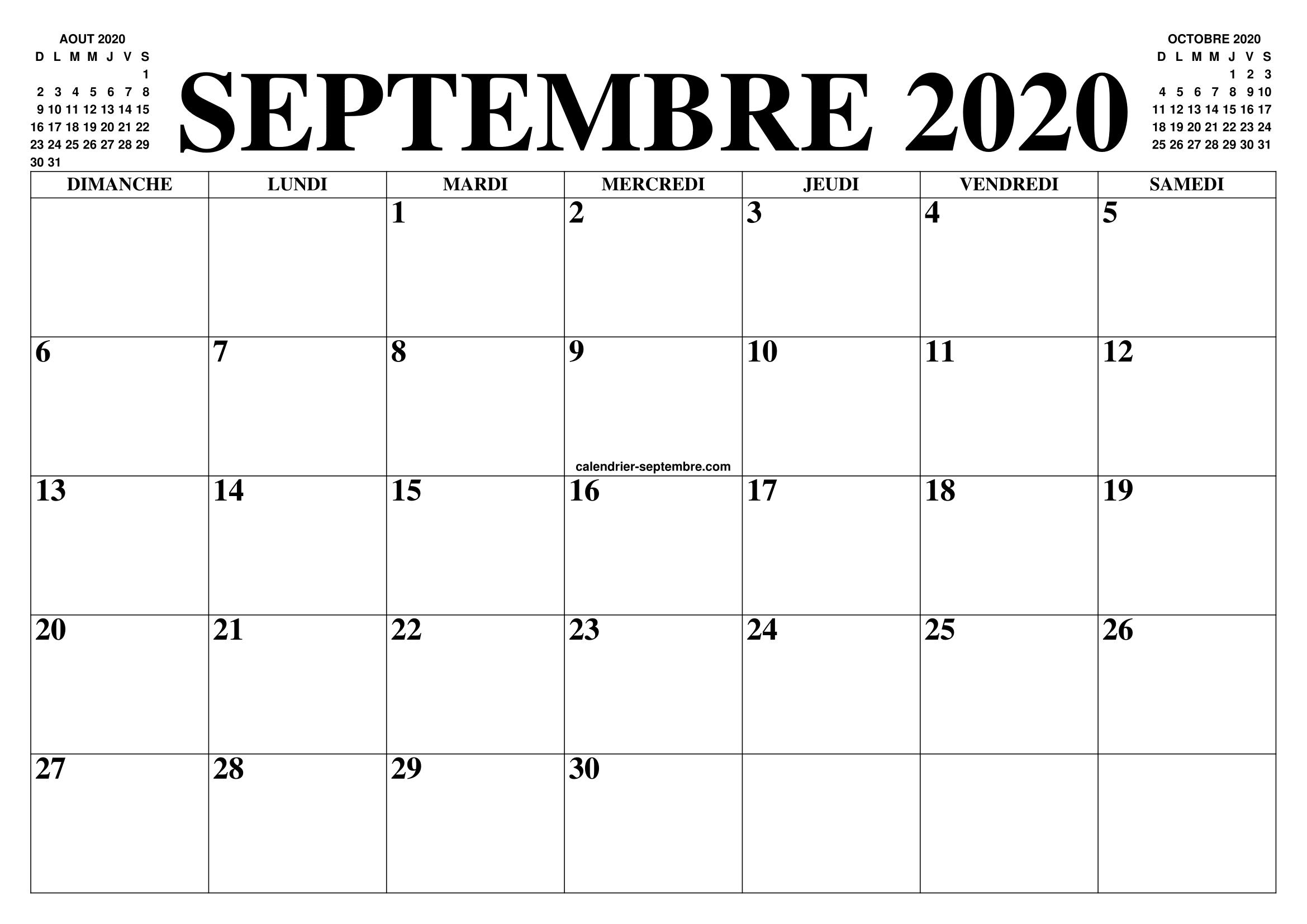 Calendrier Septembre 2020 Le Calendrier Du Mois De