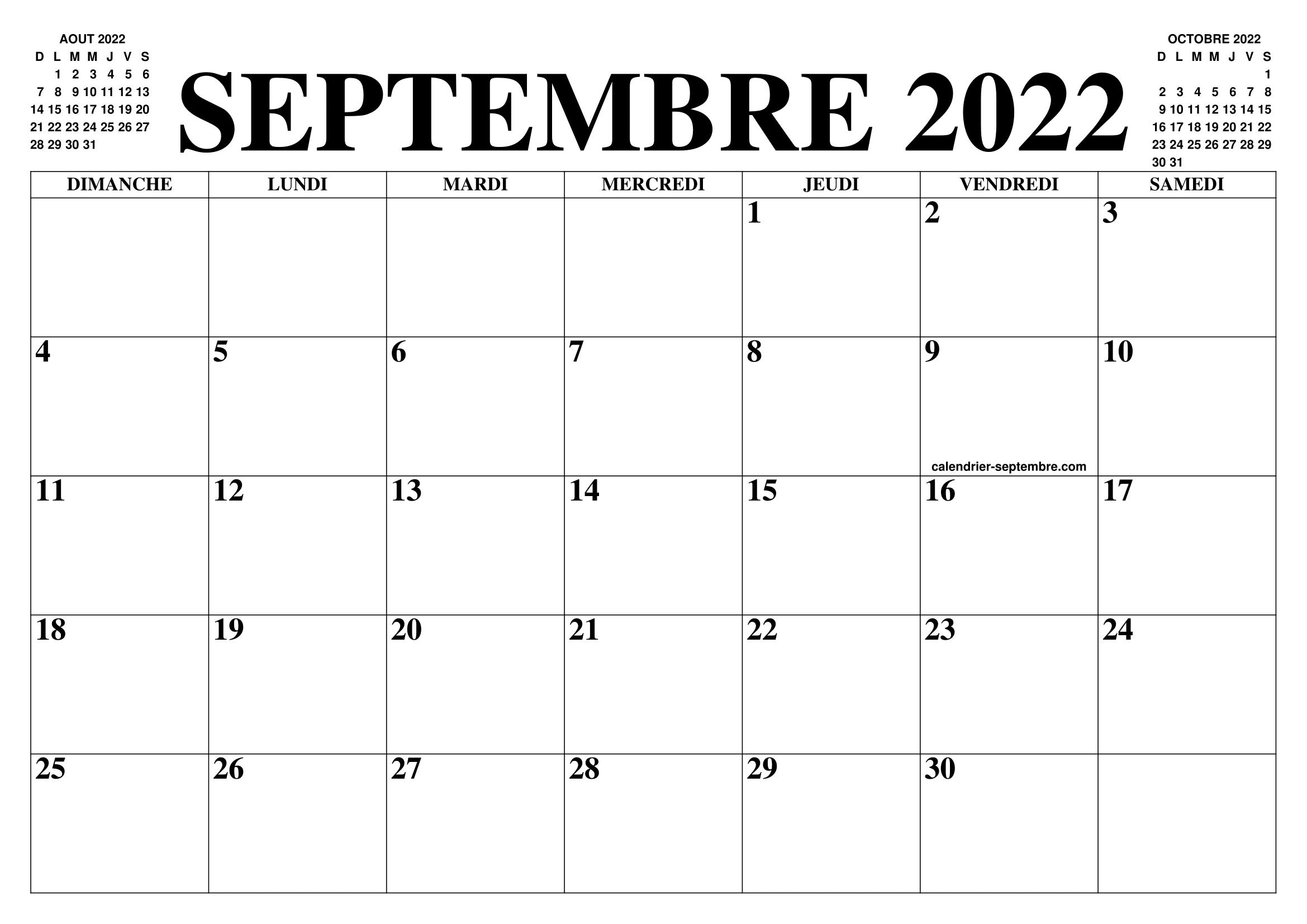 Calendrier Aout Septembre 2022 CALENDRIER SEPTEMBRE 2022 : LE CALENDRIER DU MOIS DE SEPTEMBRE